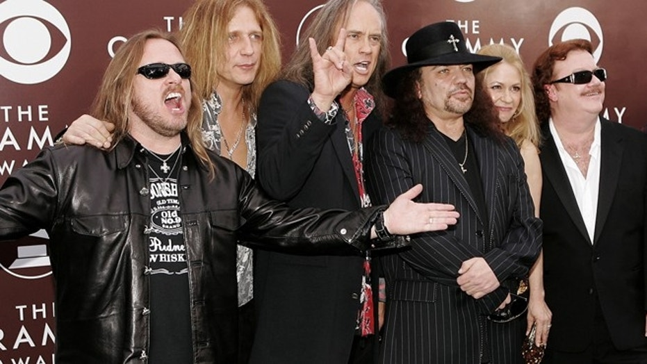 The group Lynyrd Skynyrd arrive for the 47th Annual Grammy Awards on Sunday, Feb. 13, 2005, at the Staples Center in Los Angeles. (AP Photo/Mark J. Terrill)