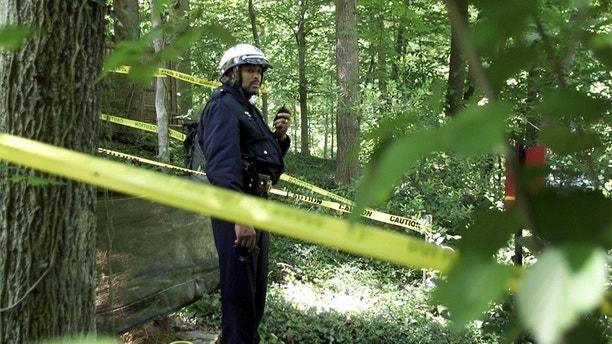A Washington Metropolitan Police Officer stands behind police lines in