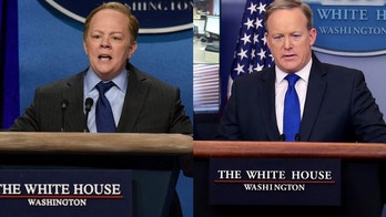 "Actress Melissa McCarthy (left) as Press Secretary Sean Spicer on ""Saturday Night Live. Spicer pictured in real life (right)."