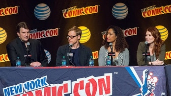 "NEW YORK, NY - OCTOBER 10:  (L-R) Actors Nathan Fillion, Alan Tudyk, Gina Torres and Jewel Staite attend the ""Firefly Reunion"" panel during New York Comic-Con Day 3 at The Jacob K. Javits Convention Center on October 10, 2015 in New York City.  (Photo by Michael Stewart/Getty Images)"