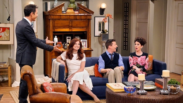"This image released by NBC shows, from left, Eric McCormack, Debra Messing, Sean Hayes and Megan Mullally in ""Will & Grace,"" premiering Sept.