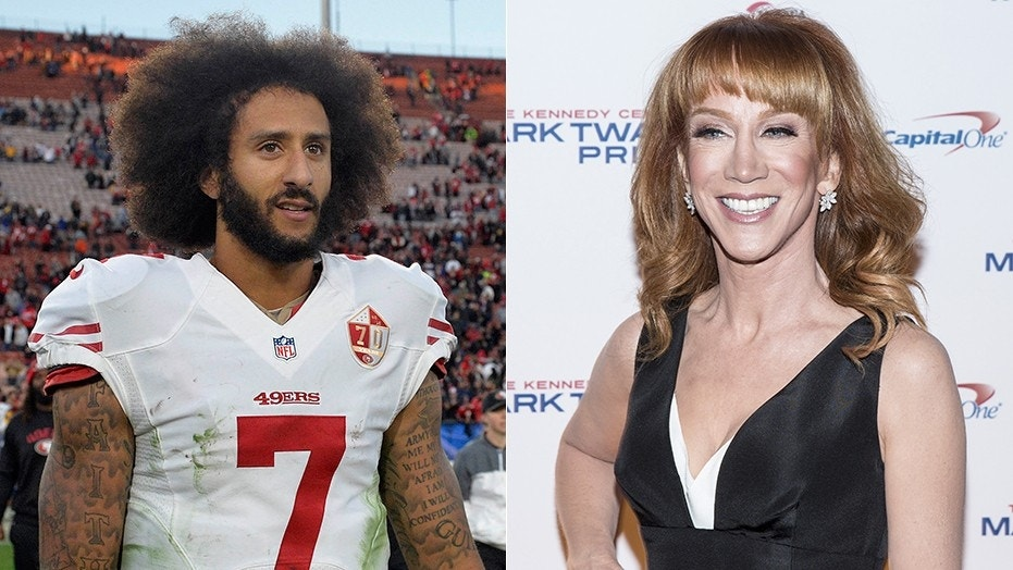 Former NFL Quarterback Colin Kaepernick (left) has a new fan as comedian Kathy Griffin (right) tweeted support for his activism on Sunday. (Gary A. Vasquez/USA TODAY Sports, Reuters/Joshua Roberts)