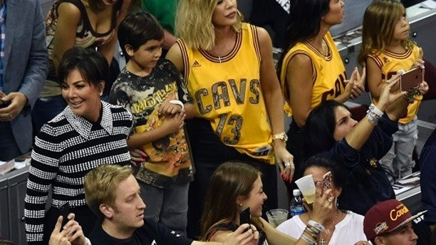 Jun 9, 2017; Cleveland, OH, USA; Reality TV stars Kris Jenner, Khloe Kardashian and Kourtney Kardashian during game four of the Finals for the 2017 NBA Playoffs between the Cleveland Cavaliers and the Golden State Warriors at Quicken Loans Arena. Mandatory Credit: David Richard-USA TODAY Sports - 10099802