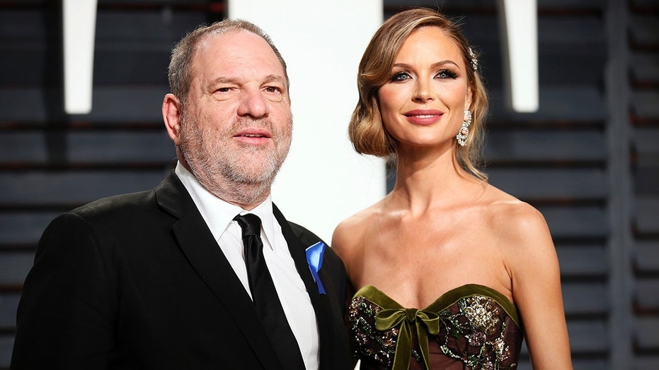 Harvey Weinstein (left) and wife Georgina Chapman (right) pose at the 89th Academy Awards. On Tuesday, Chapman announced that she's leaving Weinstein.