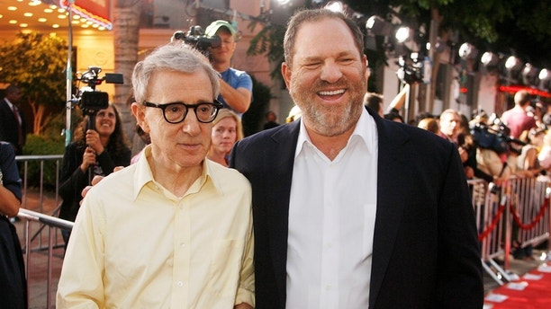 "Woody Allen, director of the new film ""Vicky Cristina Barcelona"", poses with Harvey Weinstein, co-chairman of The Weinstein Co., at the film's premiere in Los Angeles August 4, 2008. REUTERS/Fred Prouser    (UNITED STATES) - GM1E485185O01"