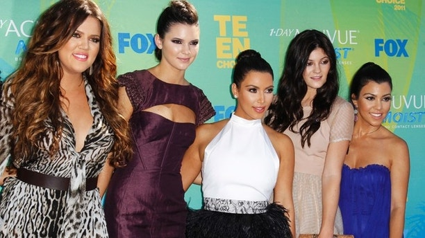 Khloe Kardashian, Kendall Jenner, Kim Kardashian, Kylie Jenner and Kourtney Kardashian at the Teen Choice Awards in Los Angeles August 7, 2011.