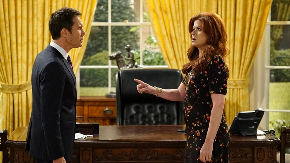 WILL & GRACE -- Episode 101 -- Pictured: (l-r) Eric McCormack as Will Truman, Debra Messing as Grace Adler -- (Photo by Chris Haston/NBC)