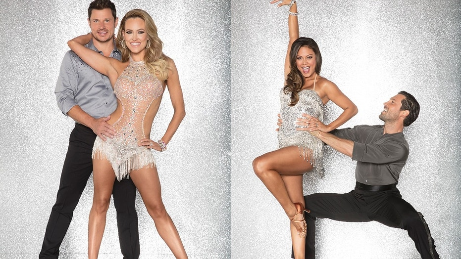 "Nick Lachey (left) and his ""Dancing With the Stars"" partner Peta Murgatroyd. Vanessa Lachey (middle right) and her partner Maksim Chmerkovskiy."