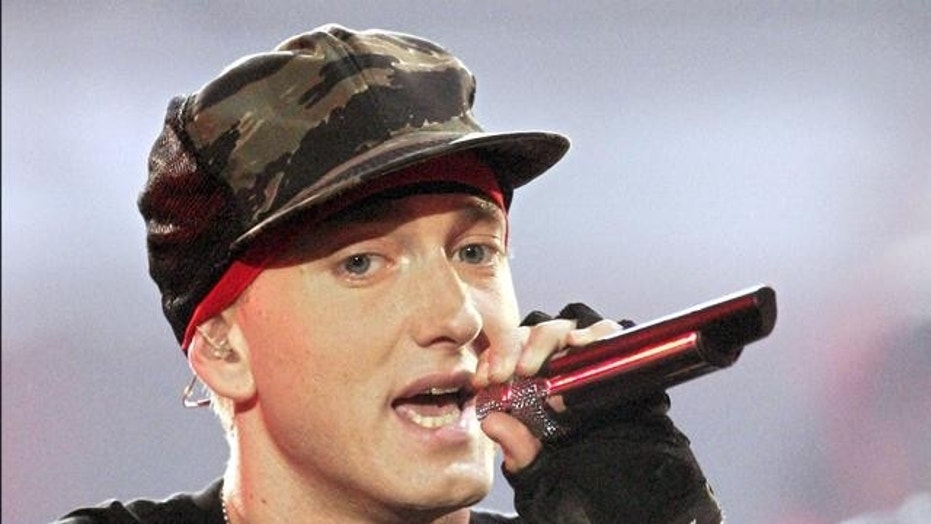 Eminem performs at the MTV Europe Music Awards in Rome, Nov. 18, 2004.
