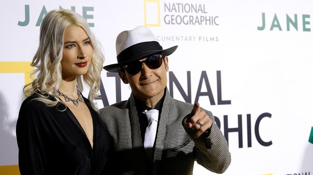 """Actor Corey Feldman and his wife Courtney Anne Mitchell pose at the premiere for the documentary """"Jane"""" in Los Angeles, California, U.S., October 9, 2017. REUTERS/Mario Anzuoni - RC1DADEE5560"""