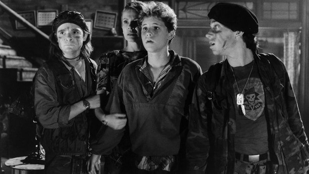 """From l-r: Corey Feldman, Dianne Wiest, Corey Haim and Jamison Newlander in a scene from the film """"The Lost Boys"""" in 1987."""