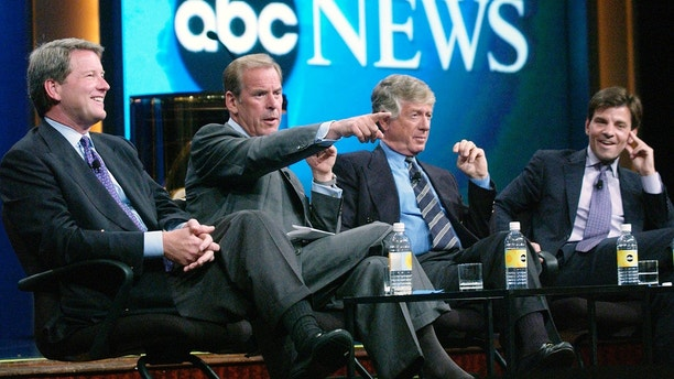 David Westin, President, ABC News, and journalisrs Peter Jennings, Ted Koppel and George Stepanopoulos (L-R) address reporters during a question and answer session as part of ABC 2004 Summer Press Tour in Los Angeles, California July 12, 2004.