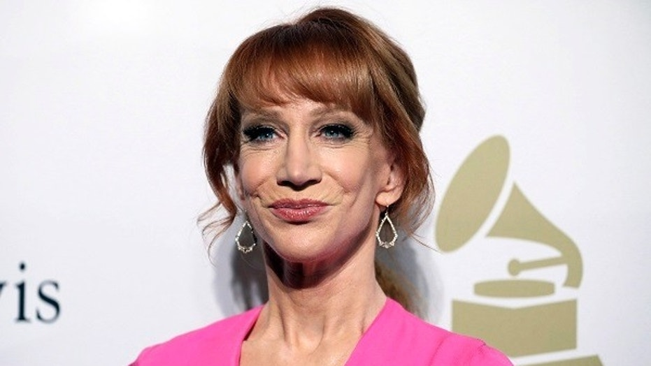 FILE - In this Feb. 11, 2017, file photo, comedian Kathy Griffin attends the Clive Davis and The Recording Academy Pre-Grammy Gala in Beverly Hills, Calif. On Thursday, Sept. 21, 2017, KB Home issued an apology on behalf of their chief executive. KB Home has put CEO Jeffrey Mezger on notice following a vulgar rant against Griffin that went viral. The homebuilder said if a similar incident occurs, Mezger will be let go from his post. The company is also cutting his bonus for the current year by 25 percent. (Photo by Rich Fury/Invision/AP, File)