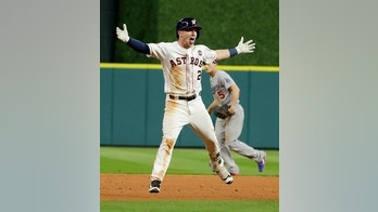 Houston Astros' Alex Bregman celebrates after hitting the game winning single during Game 5 of baseball's World Series against the Los Angeles Dodgers Monday, Oct. 30, 2017, in Houston. Astros won 13-12.(AP Photo/Matt Slocum)