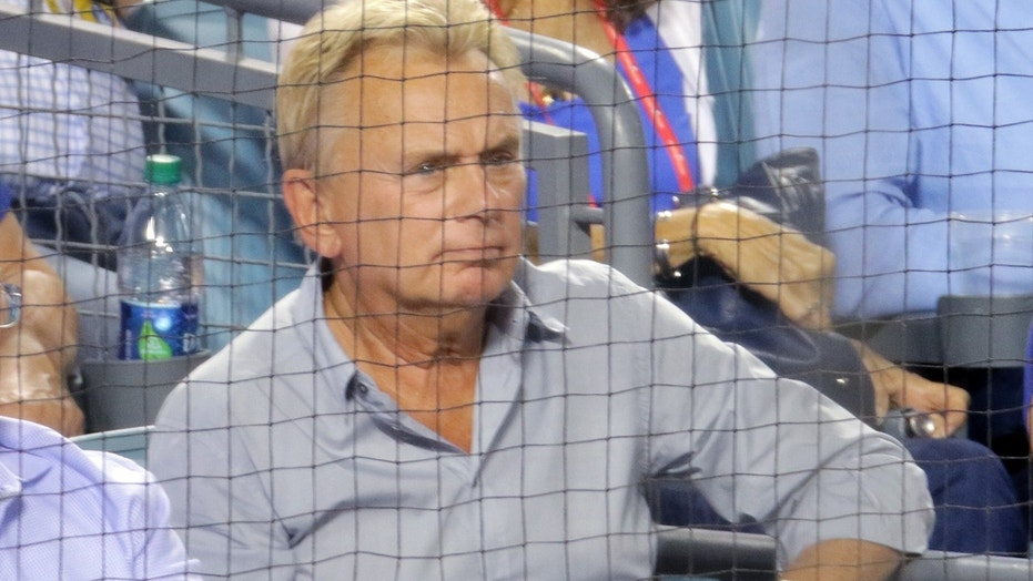 Pat Sajak takes in Game 2 of the World Series at Dodger's Stadium.