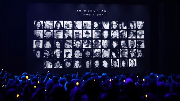 51st Country Music Association Awards – Show - Nashville, Tennessee, U.S., 08/11/2017 - Images of those killed in the October 1, 2017 mass shooting in Las Vegas, Nevada, are shown during the in memoriam segment of the show. REUTERS/Mario Anzuoni - HP1EDB909FUOZ