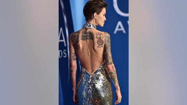 Ruby Rose arrives at the 51st annual CMA Awards on Wednesday, Nov. 8, 2017, in Nashville, Tenn. (Photo by Evan Agostini/Invision/AP)
