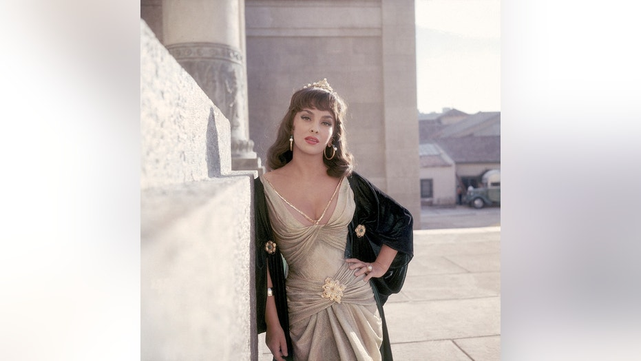 "Hollywood screen actress Gina Lollobrigida on the set of ""Solomon and Sheba."""