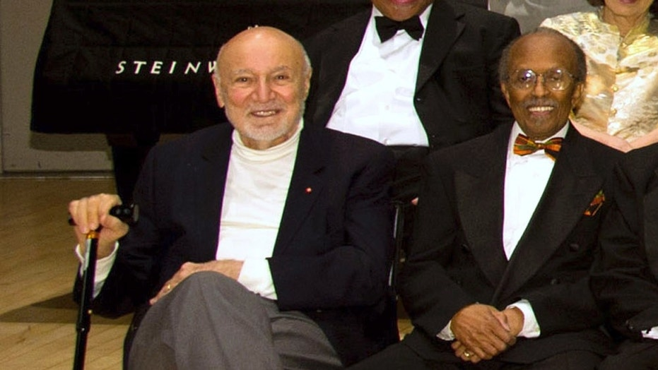 George Avakian, left, and Jimmy Heath are seen at the National Endowment for the Arts Jazz Masters Awards Ceremony and Concert in New York City, Jan. 11, 2011.