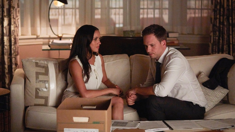 "Meghan Markle as Rachel Zane and Patrick J. Adams as Michael Ross in a recent episode of ""Suits."""