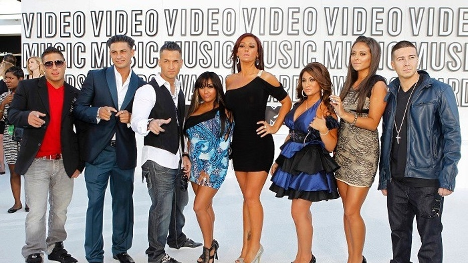 "The cast of the ""Jersey Shore"" from left to right: Ronnie Ortiz-Magro, Paul ""Pauly D"" Delvecchio, Mike ""The Situation"" Sorrentino, Nicole ""Snooki"" Polizzi, Jenni ""JWoww"" Farley, Deena Nicole Cortese, Sammi ""Sweetheart"" Giancola and Vinny Guadagnino."