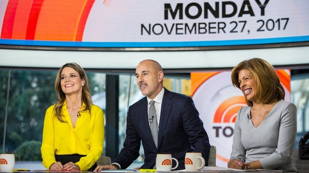 "Pictured from l-r: Savannah Guthrie, Matt Lauer and Hoda Kotb on the ""Today"" show Monday, Nov. 27, 2017."