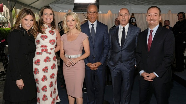 "NBCUNIVERSAL UPFRONT EVENTS --  2017 NBCUniversal Upfront in New York City on Monday, May 15, 2017 -- Red Carpet -- Pictured: (l-r) Jenna Bush Hager, Savannah Guthrie, Megyn Kelly, Lester Holt, Matt Lauer, ""TODAY"" on NBC; Chuck Todd, ""Meet the Press"" on NBC -- (Photo by: Peter Kramer/NBCUniversal)"
