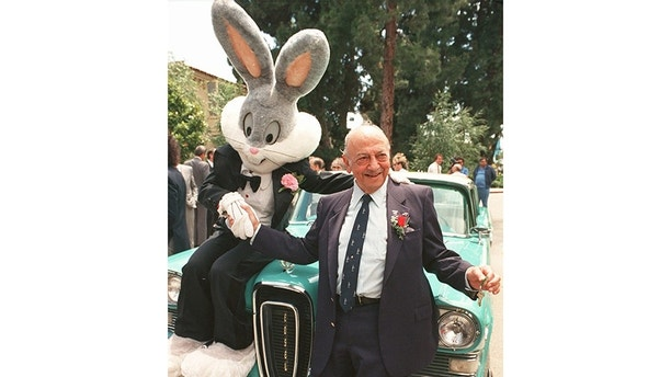 Mel Blanc poses with Bugs Bunny at his 80th birthday party in Los Angeles, June 2, 1988.   (AP Photo)