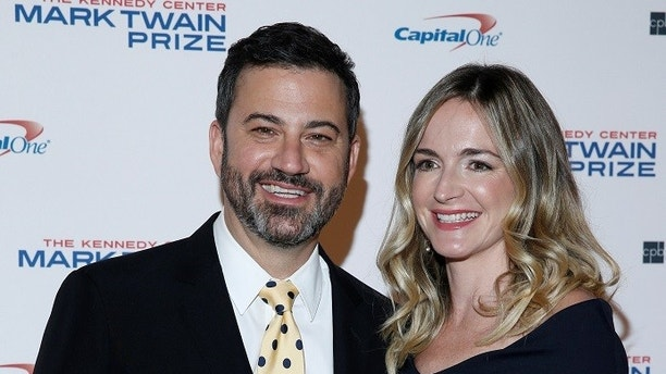 Comedian Jimmy Kimmel and his wife Molly McNearney arrive for a gala honoring David Letterman, who is receiving the Mark Twain Prize for American Humor, at Kennedy Center in Washington, U.S., October 22, 2017.   REUTERS/Joshua Roberts - RC129CF6F2D0