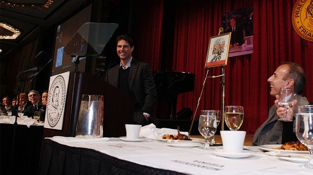 TODAY -- Friars Club Roast & Celebrity Luncheon In Honor of Matt Lauer -- Date 10/24/2008 -- Pictured: (l-r) Tom Cruise, Matt Lauer -- Tom Cruise makes a surprise celebrity appearance at the Friars Club to join in the Annual Roast, this year honoring Matt Lauer  (Photo by Heidi Gutman/NBC/NBCU Photo Bank via Getty Images)