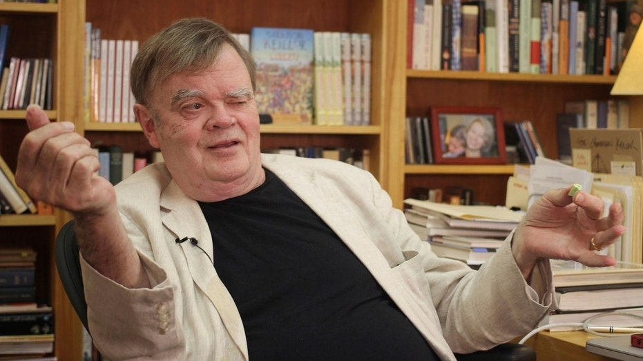 "Garrison Keillor, creator and former host of, ""A Prairie Home Companion,"" talks at his St. Paul, Minn., office, July 26, 2017."