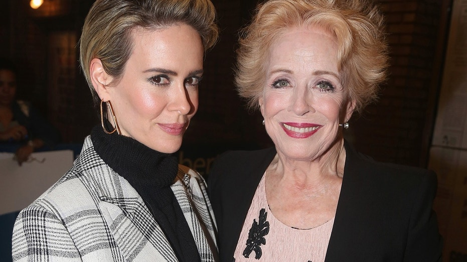 "Sarah Paulson and girlfriend Holland Taylor pose at The Opening Night of ""The Front Page"" on Broadway at The Broadhurst Theatre on October 20, 2016 in New York City."