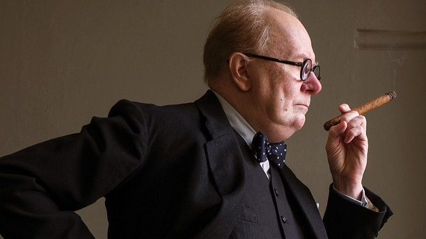 "This image released by Focus Features shows Gary Oldman as Winston Churchill in a scene from ""Darkest Hour."" On Monday, Dec. 11, 2017, Oldman was nominated for a Golden Globe for best actor in a motion picture drama for his role in the film. The 75th Golden Globe Awards will be held on Sunday, Jan. 7, 2018 on NBC. (Jack English/Focus Features via AP)"