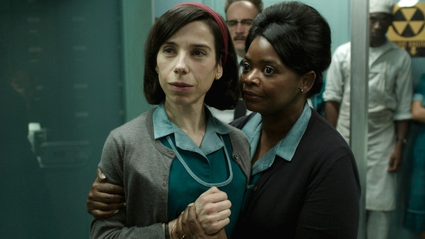 "This image released by Fox Searchlight Pictures shows Sally Hawkins, left, and Octavia Spencer in a scene from the film ""The Shape of Water."" On Monday, Dec. 11, 2017, Hawkins was nominated for a Golden Globe for best actress in a motion picture drama for her role in the film. The 75th Golden Globe Awards will be held on Sunday, Jan. 7, 2018 on NBC."