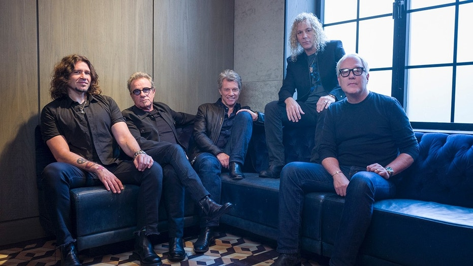 In this Oct. 19, 2016 file photo, members of Bon Jovi from left, Phil X, Tico Torres, Jon Bon Jovi, David Bryan and Hugh McDonald pose for a portrait in New York. The band will be inducted into the Rock and Roll Hall of Fame on April 14, 2018 in Cleveland, Ohio.