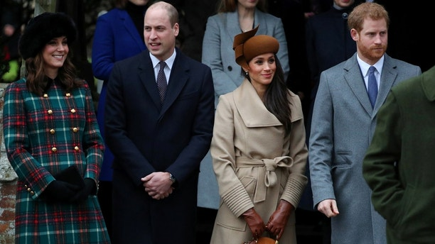 Britain's Catherine, Duchess of Cambridge, Prince William, Duke of Cambridge, Meghan Markle and Prince Harry leave St Mary Magdalene's church after the Royal Family's Christmas Day service on the Sandringham estate in eastern England, Britain, December 25, 2017. REUTERS/Hannah McKay - RC117DF76700