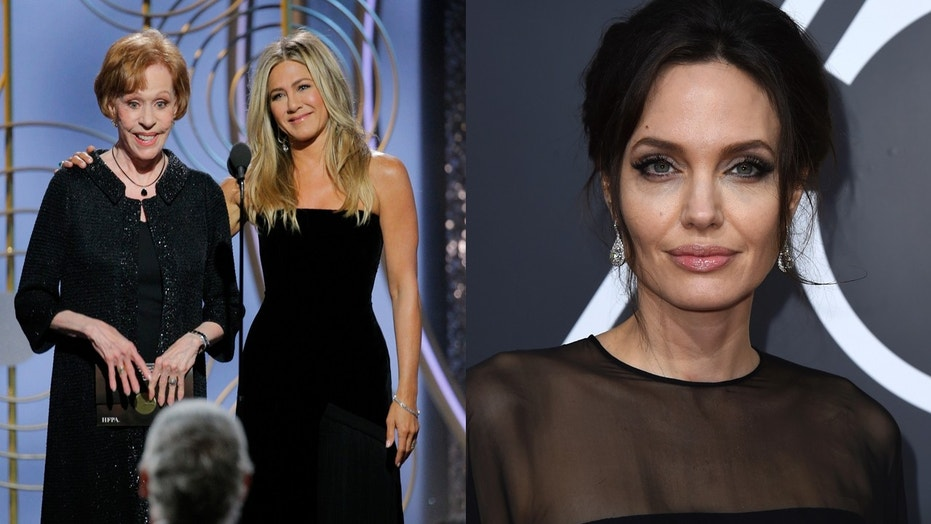 Jennifer Aniston and Angelina Jolie work to avoid a Golden Globe run in. Left, Aniston presents an award with Carol Burnett. Right, Angelina Jolie poses on the red carpet.