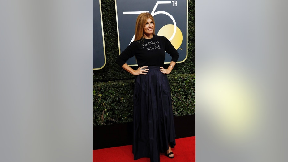 "Actress Connie Britton turns heads at the 2018 Golden Globes with ""Poverty is sexist"" sweater."