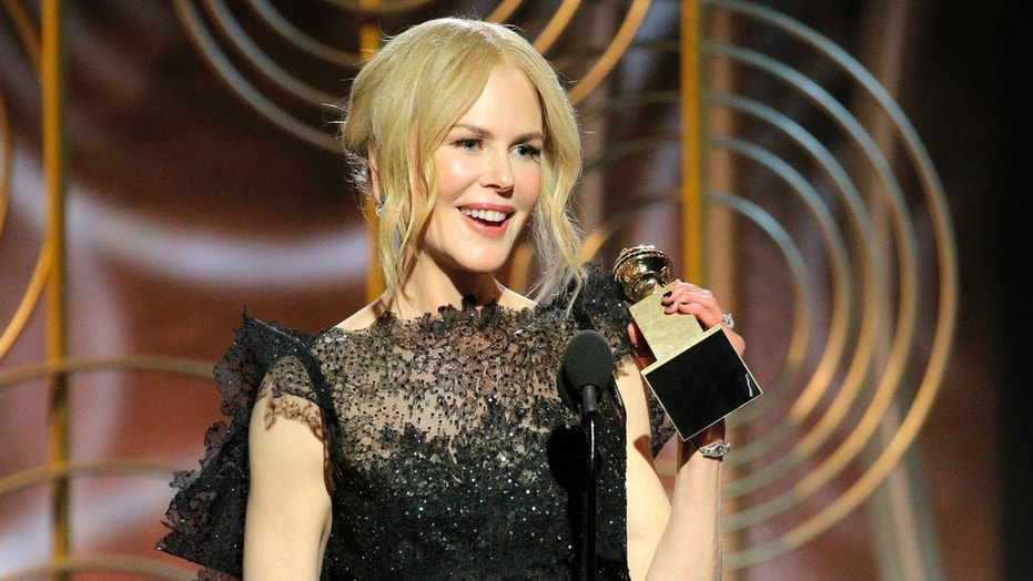 "Nicole Kidman accepting the award for best performance by an actress in a limited series or motion picture made for TV for her role in ""Big Little Lies,"" at the 75th Annual Golden Globe Awards in beverly Hills, Calif., on Sunday, Jan. 7, 2018. (Paul Drinkwater/NBC via AP)  (2018 NBCUniversal Media, LLC)"