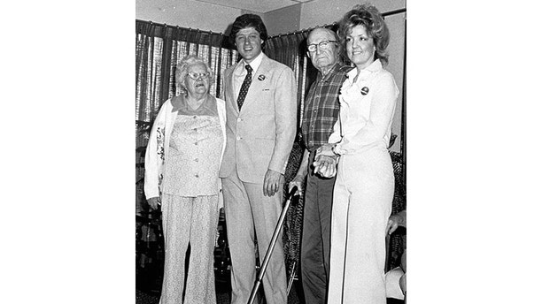 Juanita Broaddrick (R) with Bill Clinton and unidentified residents of her retirement home, in 1978.  (Reuters)