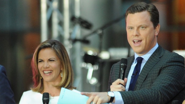 """NEW YORK, NY - SEPTEMBER 01:  (L-R) Carson Daly, Natalie Morales, Willie Geist and Dylan Dreyer speak on stage during NBC's """"Today"""" at the NBC's TODAY Show on September 1, 2014 in New York, New York.  (Photo by Andrew Toth/Getty Images)"""