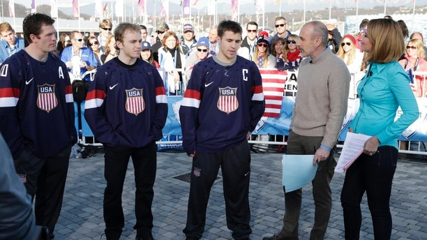 TODAY -- Pictured: (l-r) Ryan Suter, Zach Parise, Patrick Kane, Matt Lauer, Savannah Guthrie -- (Photo by: Joe Scarnici/NBC)