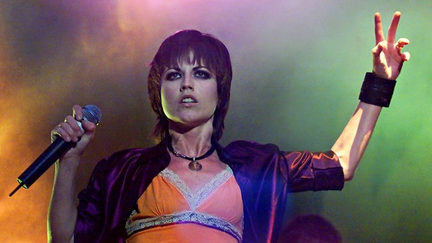 Irish band 'The Cranberries' lead singer Dolores O'Riordan performs live at Dublin's Castle on April 29. The Cranberries gave their first Dublin performance in four years at the opening of Dublin's biggest festival.