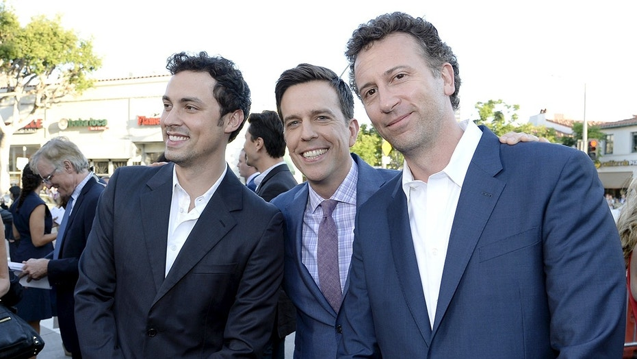 "Cast member Ed Helms (C) poses with writer/director and producer of the film John Francis Daley (L) and Jonathan Goldstein during the premiere of the film ""Vacation"" at the Regency Village Theatre in the Westwood section of Los Angeles, California July 27, 2015. REUTERS/Kevork Djansezian - GF20000006788"