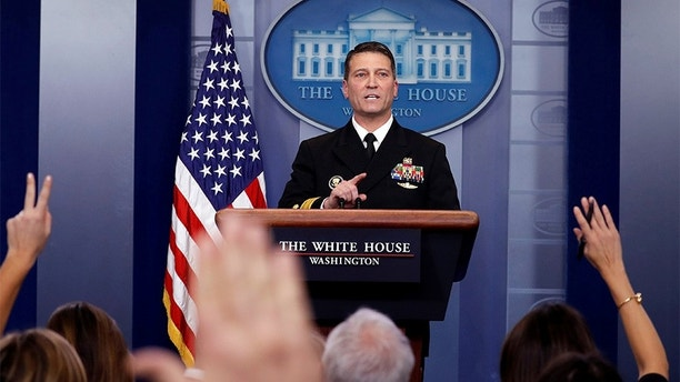 White House, Presidential physician Ronny Jackson answers question about U.S. President Donald Trump's health after the president's annual physical during the daily briefing at the White House in Washington, DC, U.S., January 16, 2018. REUTERS/Carlos Barria - RC1A2258D9D0