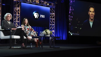 """Rebecca Eaton, left, Kelly Macdonald and Benedict Cumberbatch (via satellite) participate in the """"The Child in Time"""" panel during the PBS Television Critics Association Winter Press Tour on Wednesday, Jan. 17, 2018, in Pasadena, Calif."""