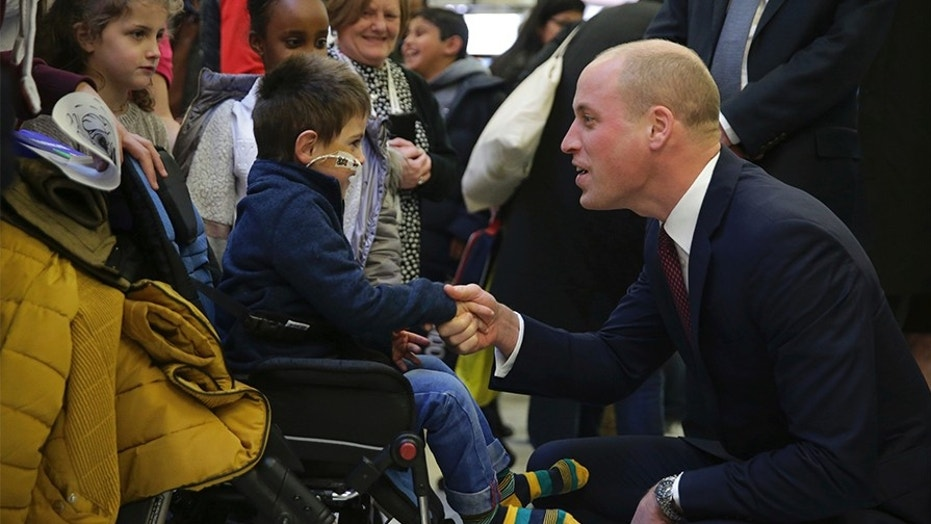 Prince William debuted a shaved head on Thursday morning while visiting patients at the Evelina London Children's Hospital in London.