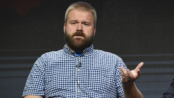 "Robert Kirkman participates in the ""AMC Visionaries"" panel during the AMC and Sundance TV Television Critics Association Summer Press Tour at the Beverly Hilton on Saturday, July 29, 2017, in Beverly Hills, Calif. (Photo by Richard Shotwell/Invision/AP)"