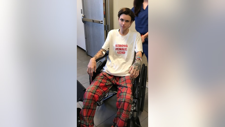 Actress and model Ruby Rose gets used to her wheelchair after undergoing spine surgery.