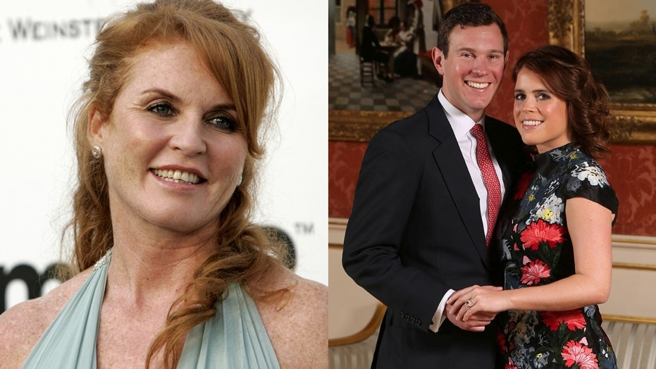 Duchess Sarah Ferguson, left, tweeted five separate posts featuring romantic photos of Princess Eugenie and Jack Brooksbank.